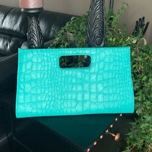 Handbags - Turquoise croc clutch
